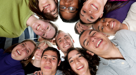 A diverse group of young adults on a white background